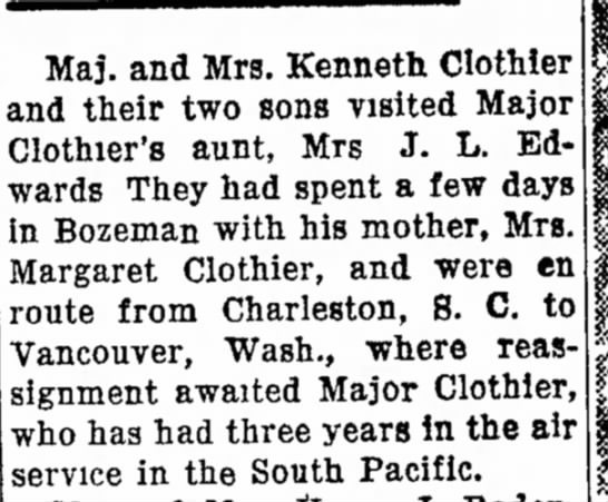 Military: Kenneth Clothier - wearing Maj. and Mrs. Kenneth Clothier and...
