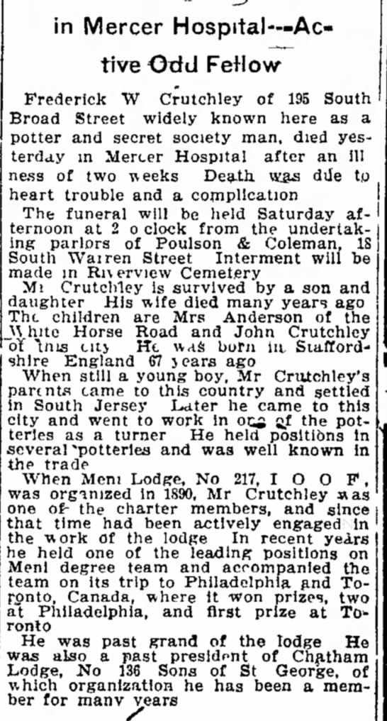 Crutchley - Trenton Evening Times - 27 Jan 1910 - s t , of the family funeral n g at the f a m -...