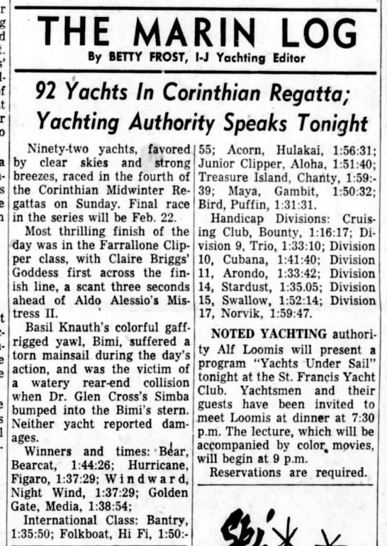 """3 Feb 1959 Daily Ind Jnl """"92 Yachts in Corinthian Regatta"""" Goddess beats Mistress II by seconds - a THE MARIN LOG By BETTY FROST, l-J Yachting..."""