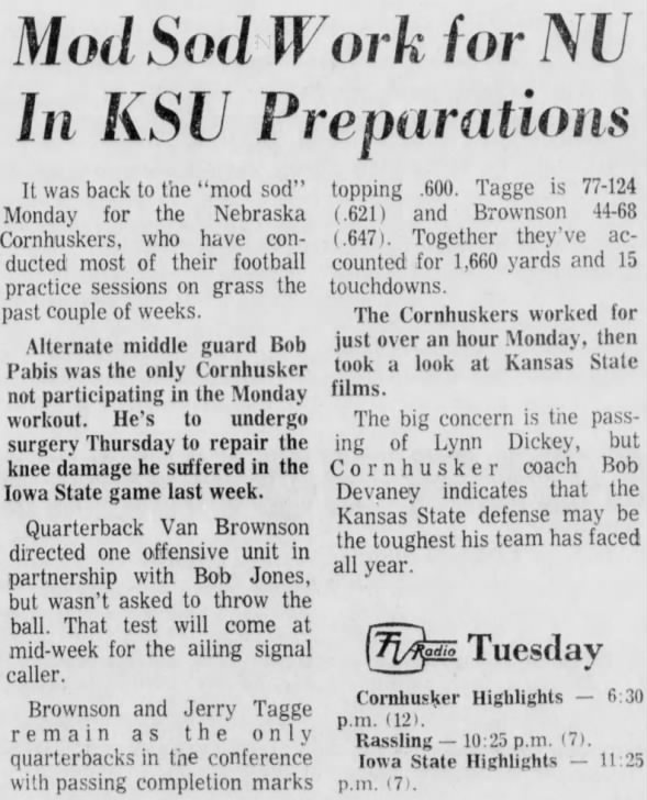 1970.11.09 Monday practice, Kansas State week