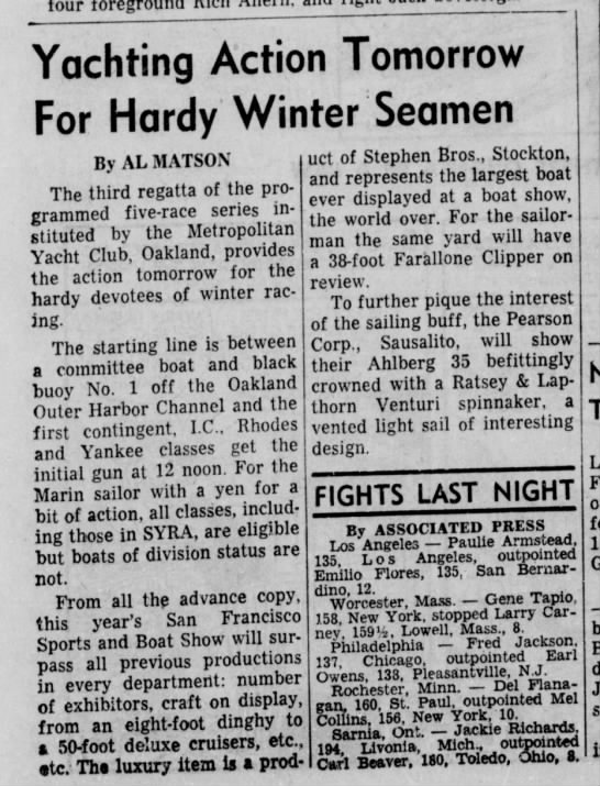 "27 Jan 1962 Daily Ind Jnl ""Yachting Action Tomorrow for Hardy Winter Seamen"" - Yachting Action Tomorrow For Hardy Winter..."