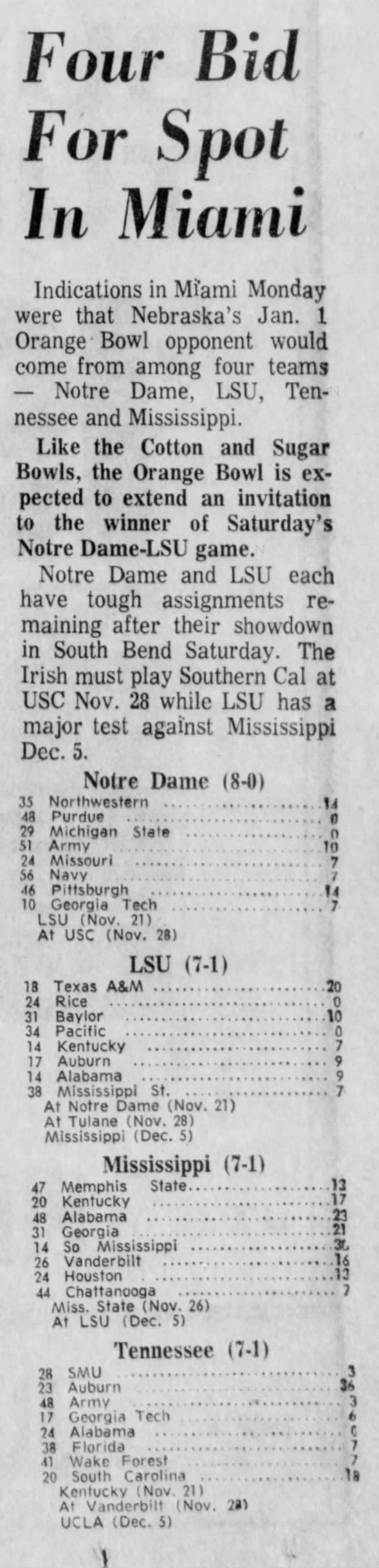 1970.11.16 Possible bowl opponents