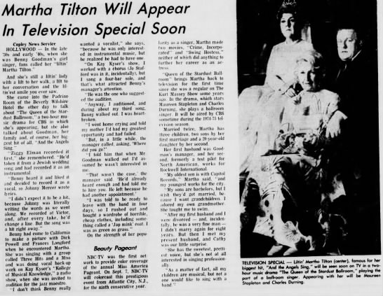 Tilton in TV special - Martha Tilton Will Appear In Television Special...