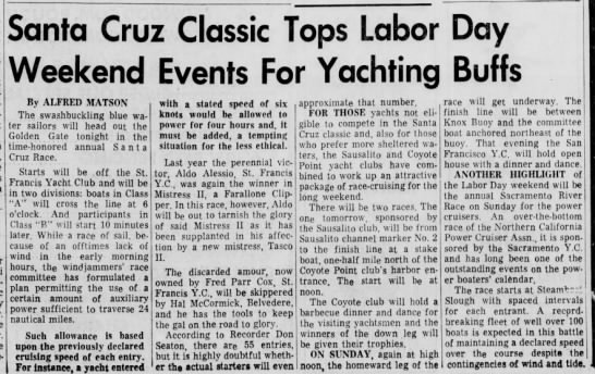 "1 Sept 1961 Daily Ind. Jnl. ""Santa Cruz Classic Tops Labor Day Weekend Events for Yachting Buffs"" - Santa Cruz Classic Tops Labor Weekend Events..."