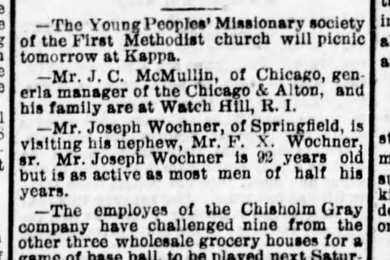 Joseph Wochner visit 14 Jul 1890 - Tbe Young l'eoplea' Miiaionary aociety of the I...