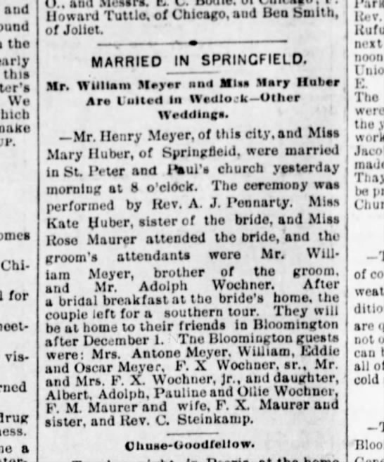 Henry Meyer wedding 16 Nov 1893 - aud found the nearly tliia s We make conies Chi...