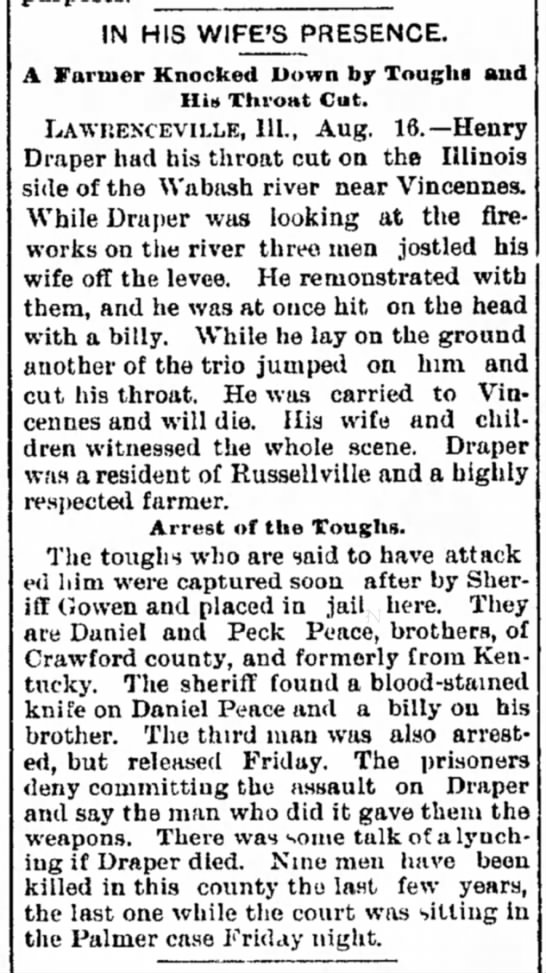 Henry Draper of Russellville Ill. Had His Throat Cut While Watching Fireworks Near Vincennes - 1890 - take time, forest devours ia to a painted...