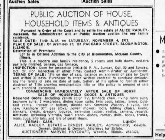 Alice radley estate sale 21 Oct 1972 - Auction Sales PUBLIC AUCTION OF HOUSE,...