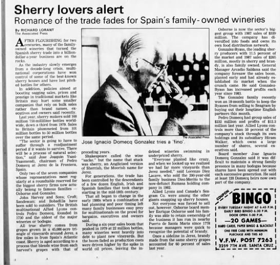 1988-06-27 Puerto Spain Fire - Sherry lovers alert Romance of the trade fades...