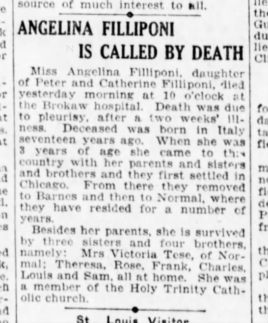 Fillaponi - aunt died 1922 - God-sell's r-mitting source of much Interest to...