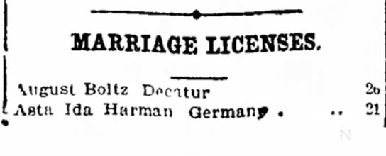 Marriage License of August Boltz - court ale man MARRIAGE LICENSES. \ugust Boltz...