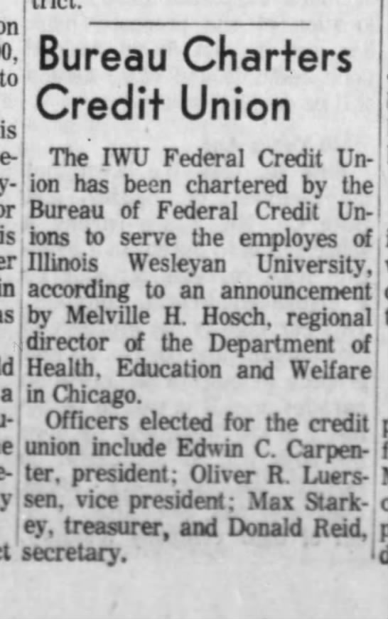 June 10, 1966 - to is Bureau Charters Credit Union The IWU...