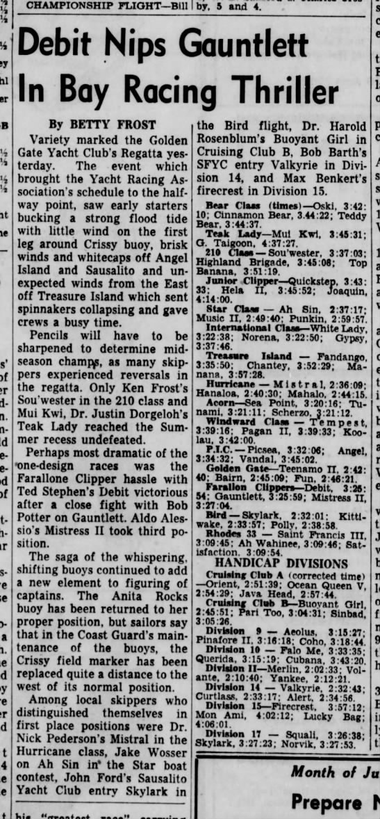 "25 Jun 1956 Daily Ind. Jnl. ""Debit Nips Gauntlett in Bay Racing Thiller"" - of of a CHAMPIONSHIP PLIGHT—Bill Crosby, 5 and..."