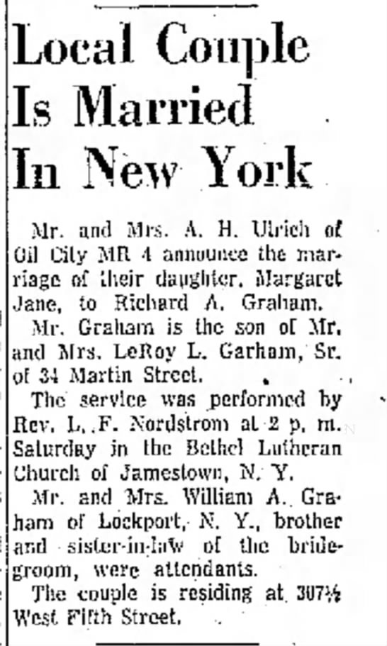 Richard A Graham & Margaret Jane Ulrich wedding announcement July 23 1956 - wedding and Buffalo, Local Couple Is Married In...