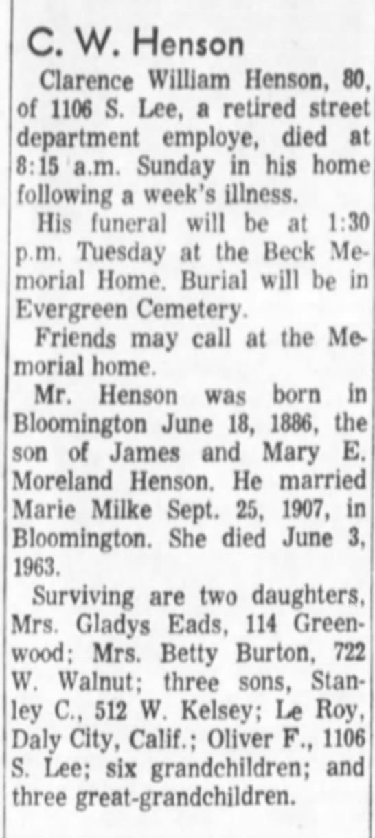 Clarence W Henson obit son of James and Mary (Moreland) Henson - C. W. Hen$on Clarence William Henson, 80. of...