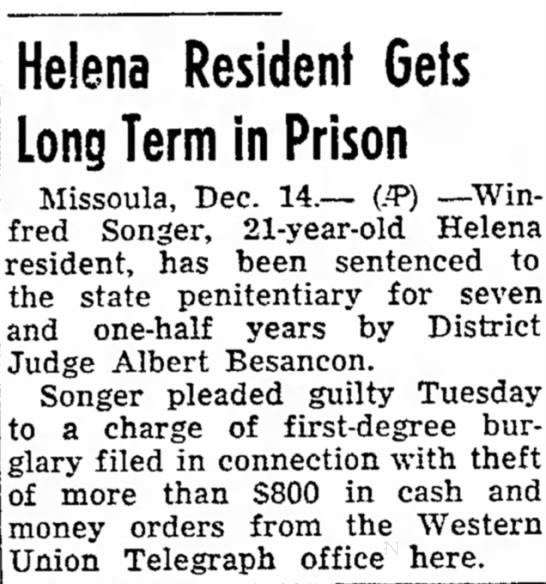 Winfred Songer 1 - Helena Resident Gets Long Term in Prison...