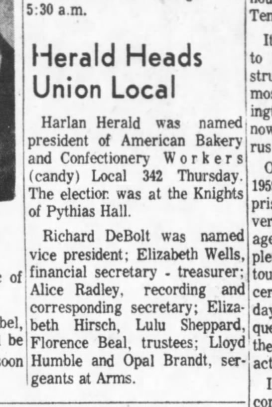 Alice Radley union sec 30 Dec 1966 - of be soon 5:30 a.m. Herald Heads Union Local...