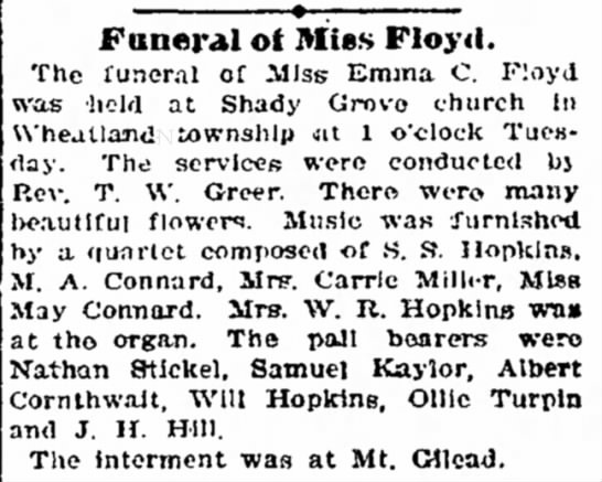 - in Funeral ot Mies Floyd. The funeral of Miss...