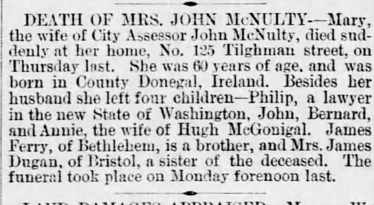 Mary McNulty death notice - DEATH OF MRS. JOHN McNULTY Mary, the wife of...