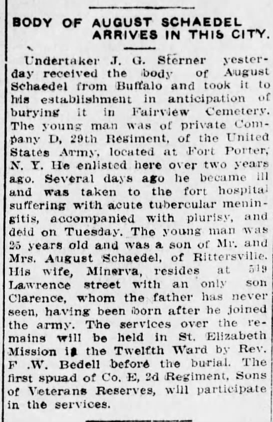 August Schaedel obituary 1914 - BODY OF AUGUST SCHAEDEL ARRIVES IN THIS CITY. V...