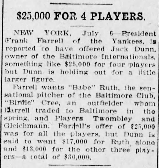 - $25,000 FOR 4 PLAYERS, NEW YORK, July 6...