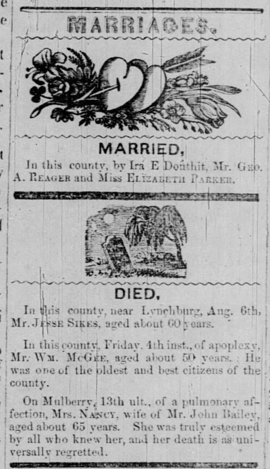 Marriages and Deaths - i I ' 1 MARRIED, I Jn this county, by Ira E...