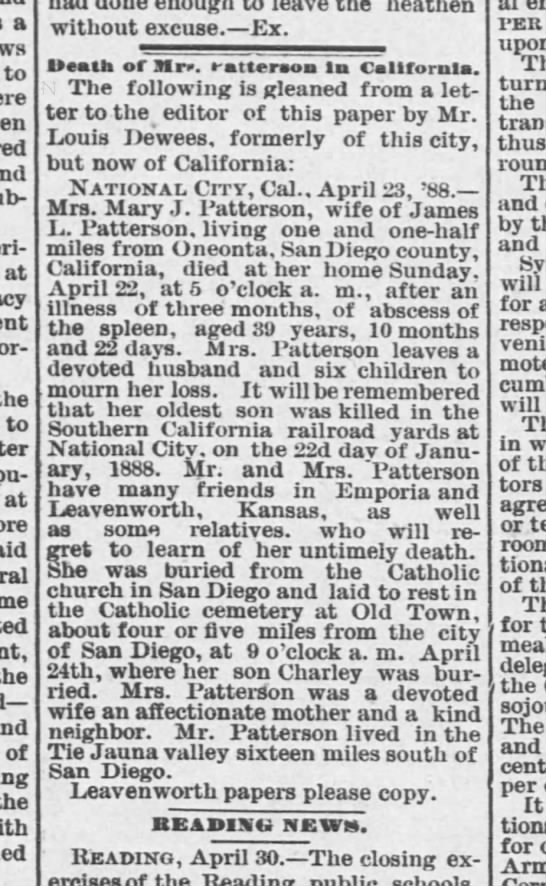Mary roe Patterson obit - a to at the to at the and of the heathen...