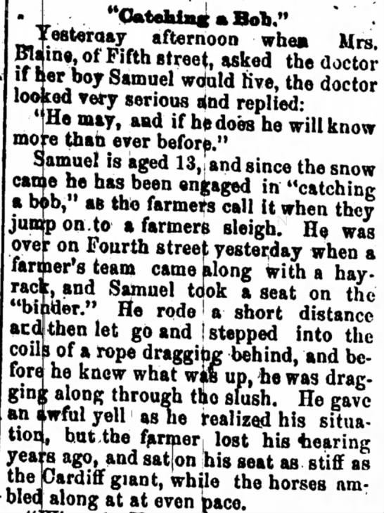 "13 Year Old Samuel Tries ""Catching a Bob,"" Comes Away Worse for Wear - to It of l i in to minber tioo eateroay..."