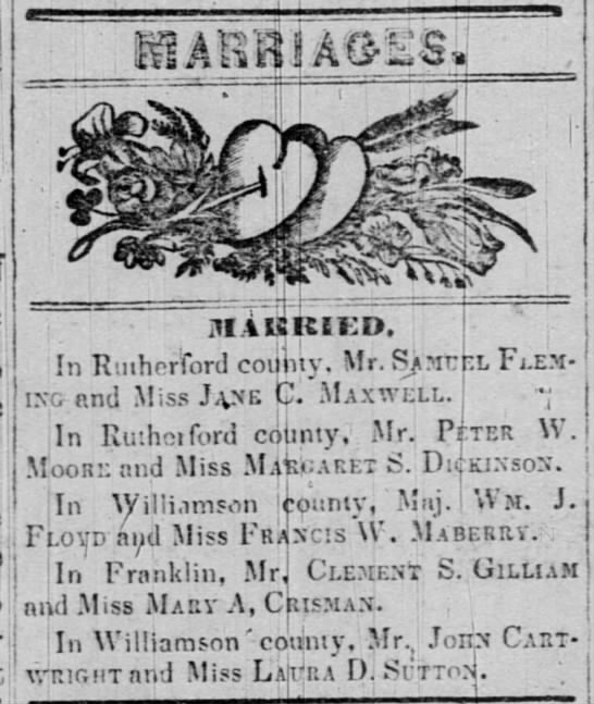 Marriages - I M4UKEKD, In Rutherford county. Mr. S?rc...