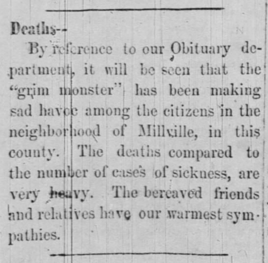 Deaths - Millville - Peatiii-j ' )V 'reference to our Obituary de -...