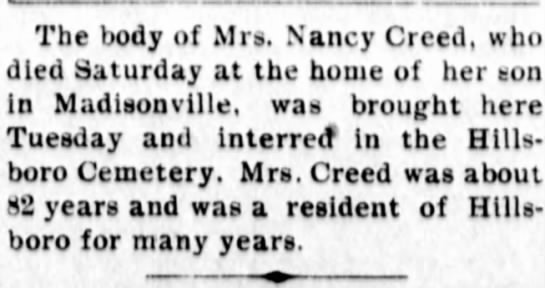 Nancy (Shup) Creed obituary - The body of Mrs. Nancy Creed, who died Saturday...