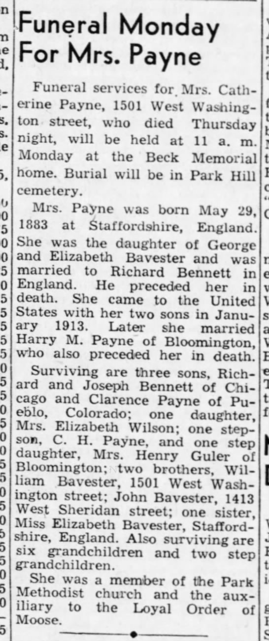 2nd obit, Catherine Bavester Payne - -s Funeral Monday For Mrs. Payne I Funeral...