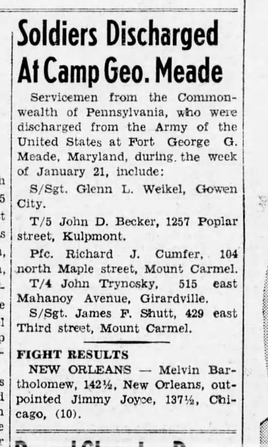 John D Becker discharged from Army Jan 1946 - Soldiers Discharged At Camp Geo. Meade...