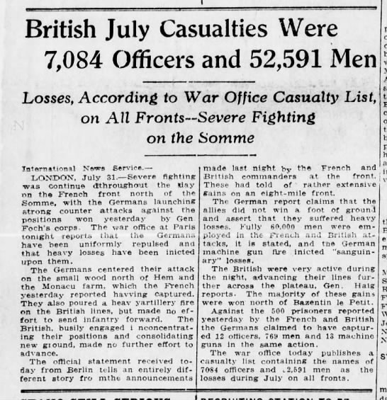 Contemporary estimate of British casualties for July 1916 - British July Casualties Were 7,084 Officers and...