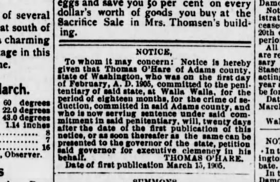 Adams County News  5 Apr 1905 page2 - of several south of charming in this March. 60...