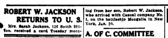 Decatur Review Feb 4, 1919 - ROBERT W. JACKSON RETURNS TO U. S. Mr*, Sarah...