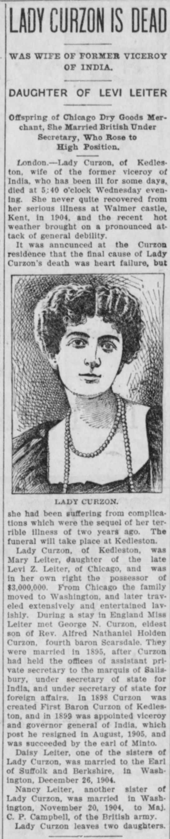 Leiter - LADY CURZONIS DEAD WAS WIFE OF FORMER VICEROY...