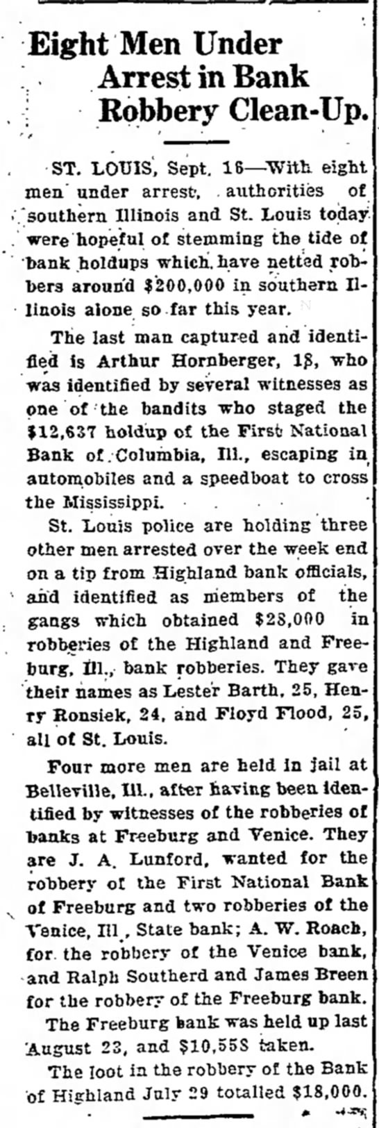 - Eight Men Under Arrest in Bank ; Robbery...