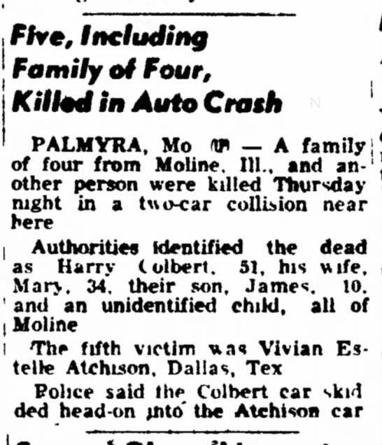Harry Colbert & fam deaths - convention 1-2 Five, Including Family of Four,...