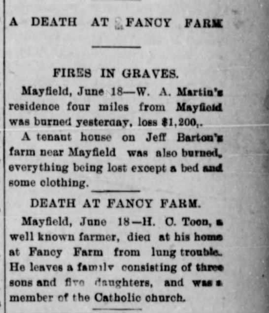 Death At Fancy Park - A DEATH AT FANCY FARM FIRES IN GRAVES Mayfield...