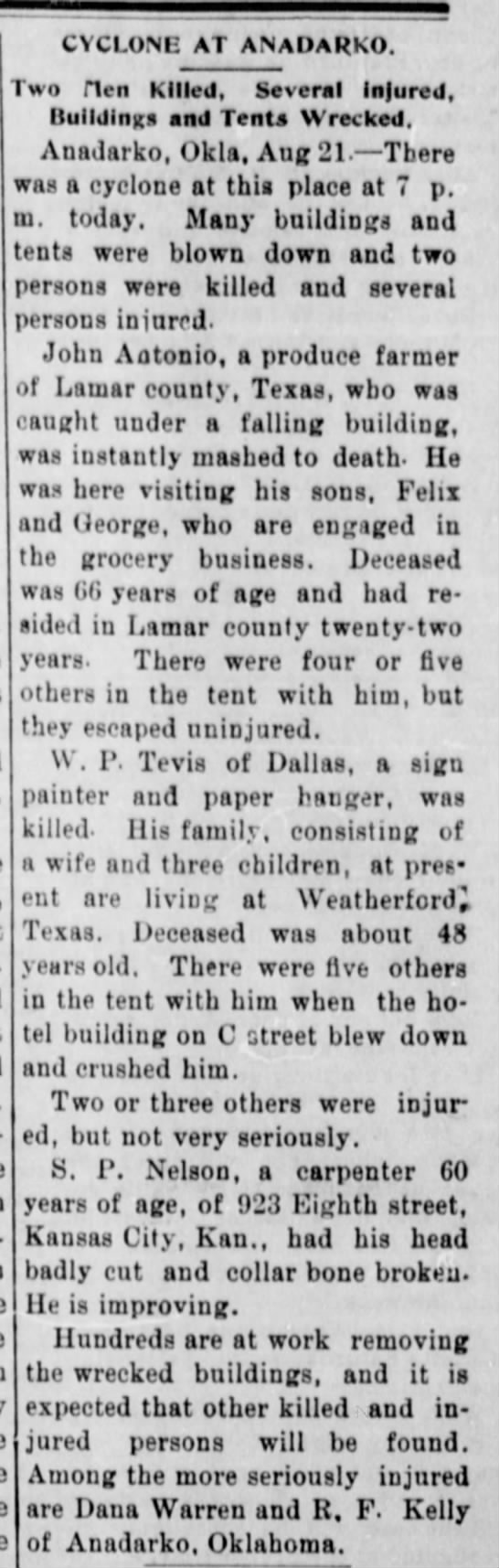 Death of William Perry Tevis in tornado at Anadarko, Oklahoma Territory Aug 22, 1901 - CYCLONE AT ANADARKO. wo Hen Killed, Several...