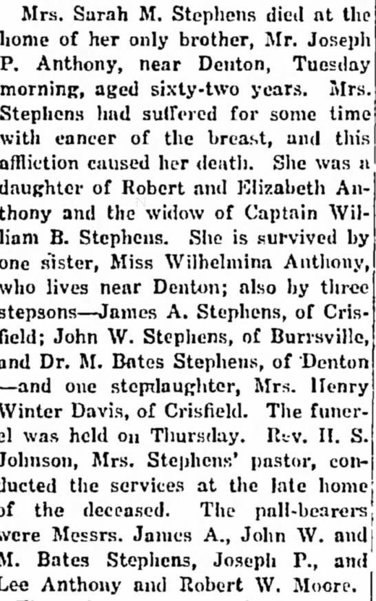 - conference, of Mrs. Sarah M. Stephens died nt...