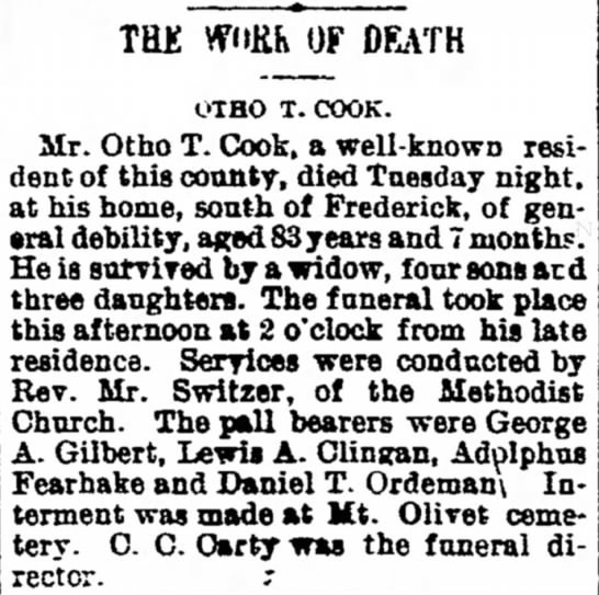 Otho T Cook - Obit  - she, wedding and at they today; TH£ OF DEATH...