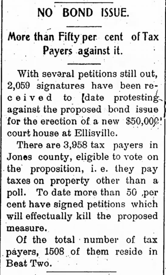 """No Bond Issue"" 1905 - NO BOND ISSUE. More than Fifty per cent of..."