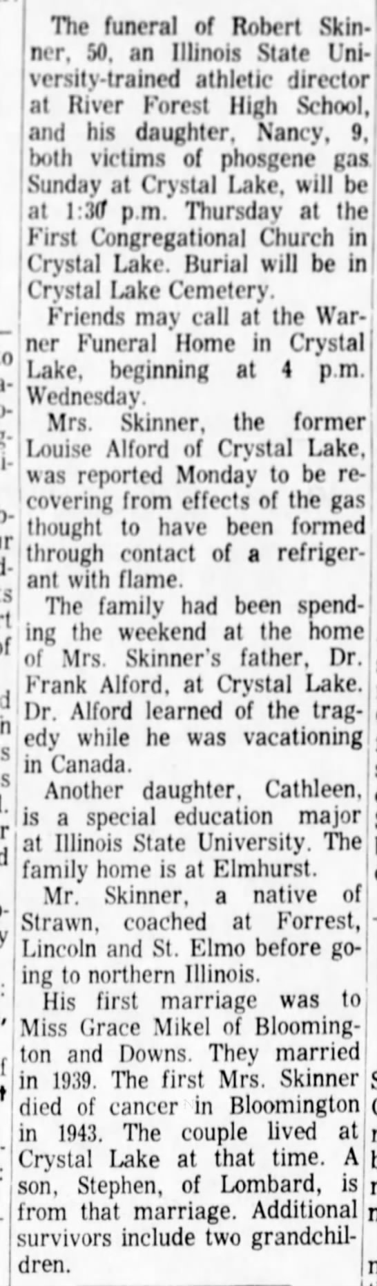 """Obit.  Robert Skinner.  The Pantagraph, Bloomington, IL.  21 Sep 1965, Tues.  Page 2. - in rVvcfal """"' ' , ' 4 'pm a-i a-i Wedncsd; ht-..."""