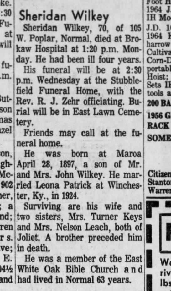 Sheridan Wilkey Obit - 8:30 Fu at will fu But son son, McLean; 902 a...