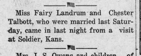 Talbott-Landrum marriage