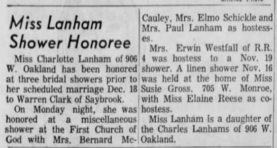 Charlotte lanham showers 1965 - Miss La n ham Shower Honoree Miss Charlotte...