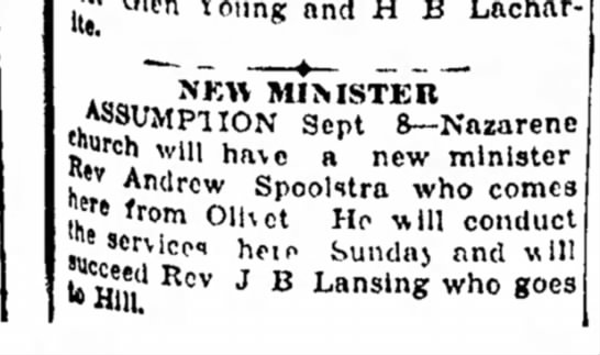 """Spoolstra, Andrew Rev 19280908 Article Illinois - !*' Glen Young and H B NKW MIMSTBlf""""""""..."""