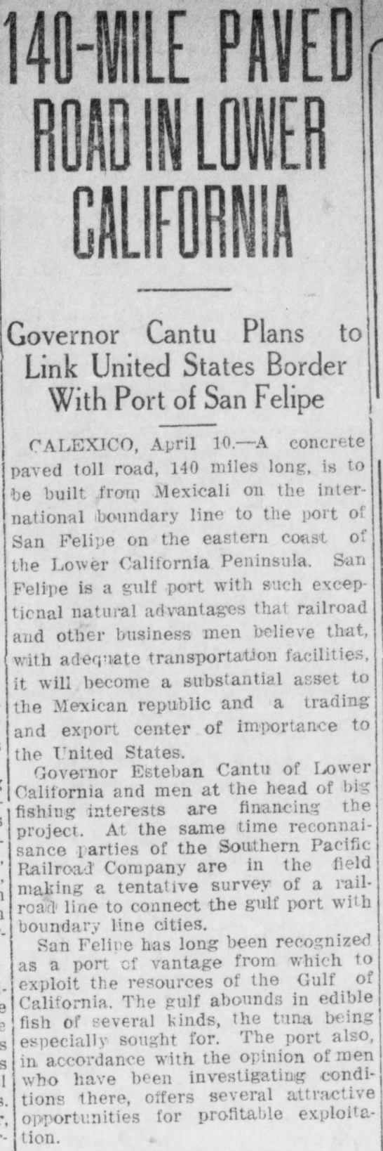 San Felipe 10 de abril de 1919 - ÏIMIE «0 ■ in un BUM Governor Cantu Plans to...
